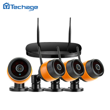Techage 4CH NVR Wireless CCTV System 4PCS Indoor Outdoor Waterproof 720P IR Night Vision P2P WIFI IP Camera Security Video Kit