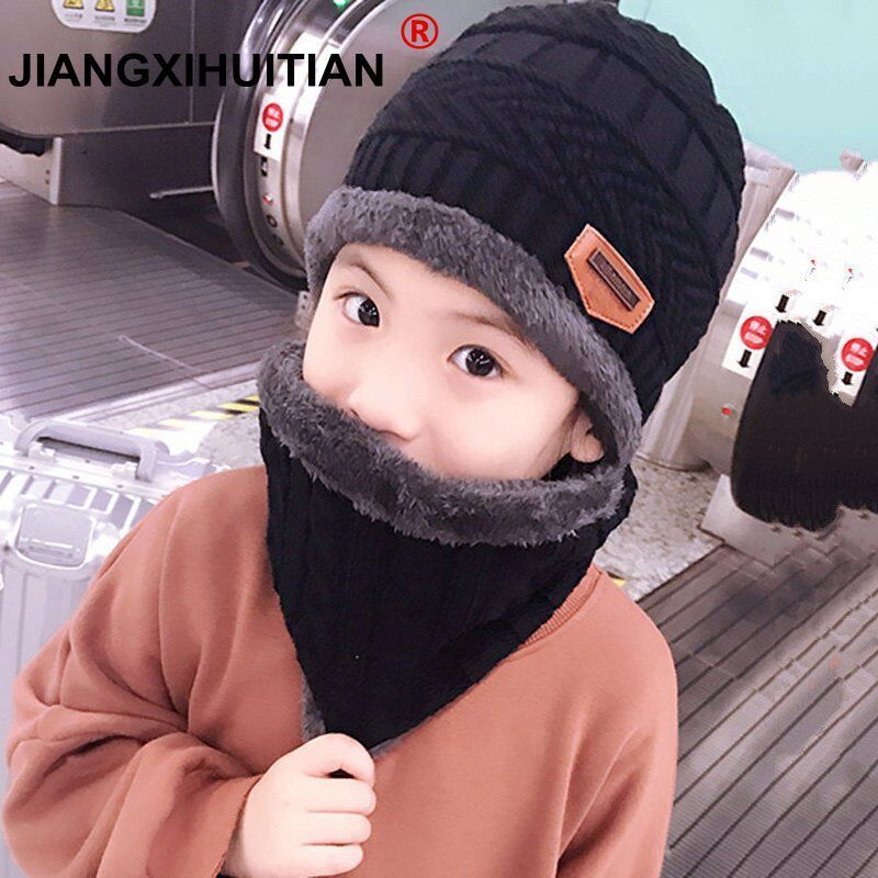 2018 child 2pcs Winter Balaclava   Beanies   Knitted Hat and scarf for 5-12 years old girls and boys students Hats Caps Ski Hat Cap