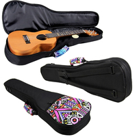 Double Strap 21 23 26 Inch Hand Folk Canvas Ukulele Carry Bag Cotton Padded Case For Ukulele Guitar Parts Accessories
