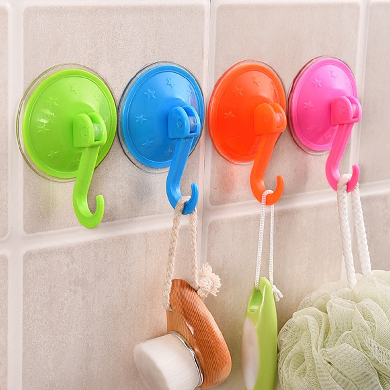 5 PCS / Lot Fargerike Suction Cup Kroker Sterk Wall Sucker Vacuum Traceless Kroker Kjøkken Baderom Vegg Krok ABS
