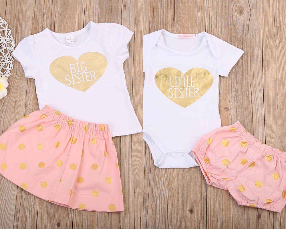 Newborn Baby Kids Girl Clothes Set Summer Costume Suit Big Sister T-shirt Little Sister Shorts Skirts Bodysuits Girls 2PCs