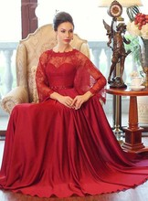 Elegant Fashion Long Top Lace Red Chiffon A Line Dress Muslim Evening Dress Floor Length Robe Arabe Hijab Dress