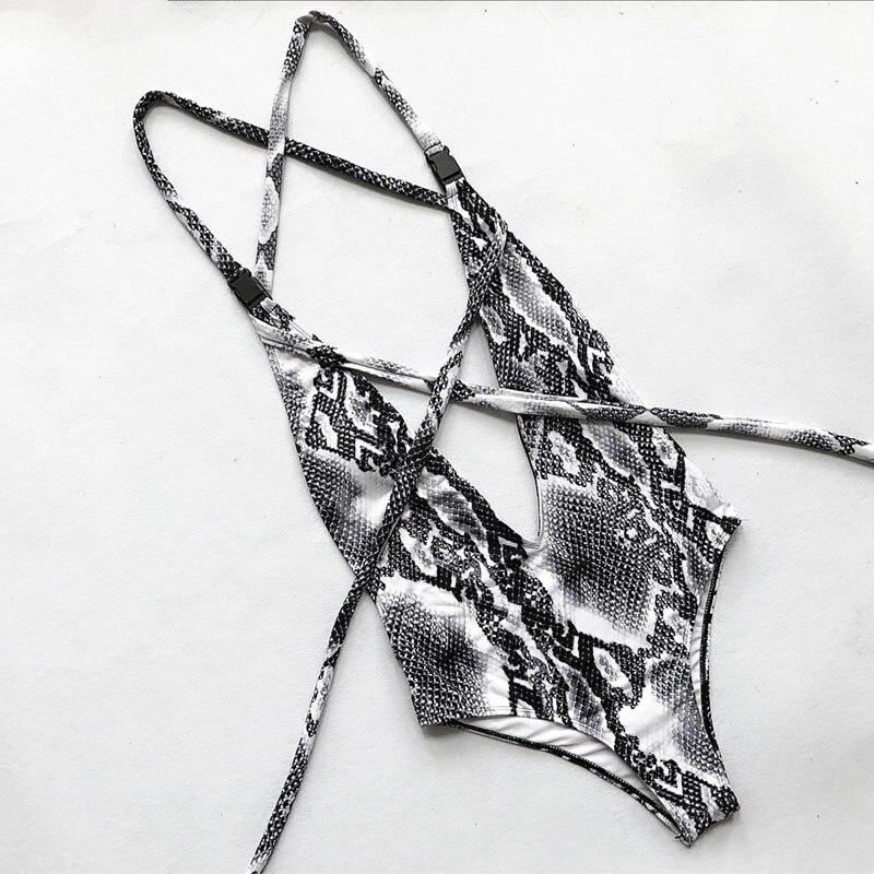2019 Women Swimwear One Piece Swimsuit DIY Long Strap Wrap Around Female Bather Leopard Deep V High Waist Bathing Suit Swim Lady