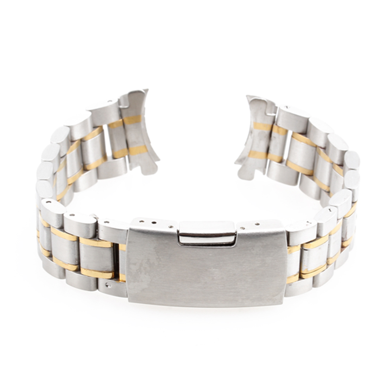 купить 20mm New Golden Silver Wristwatch Part Stainless Steel Band Metal Bracelet Watch Strap Men's watch Band Accessories Watchbands по цене 671.82 рублей