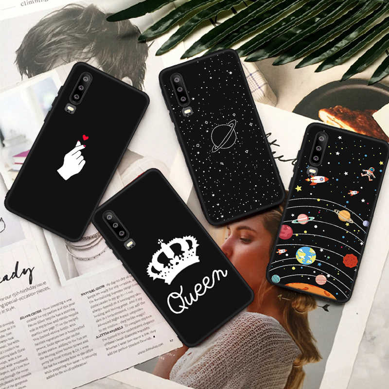Black Painting Matte Patterned TPU Phone Case For Huawei Honor 9 Lite 7X Note 10 Magic2 Space Planet Capas Cover Bumper Coque