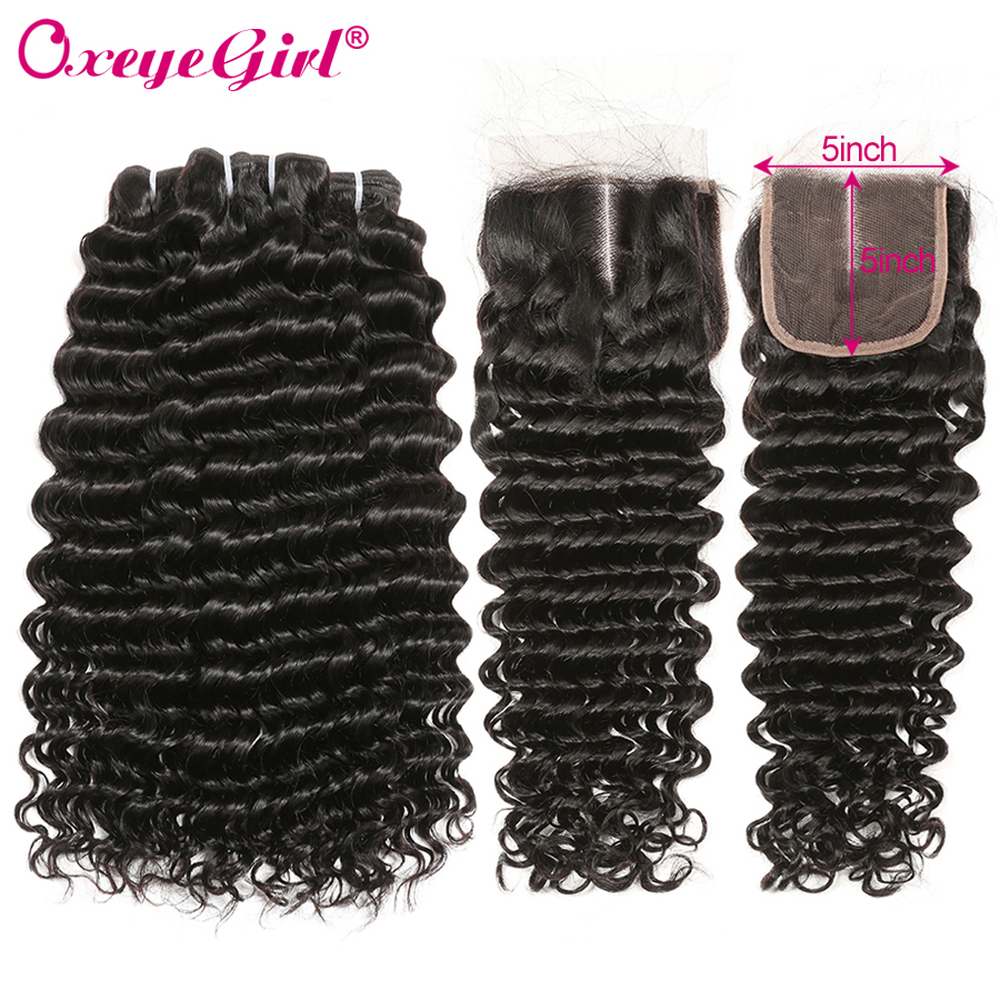 5x5 Closure With Bundles Brazilian Deep Wave Bundles With Closure Human Hair Bundles With Closure 4Pcs