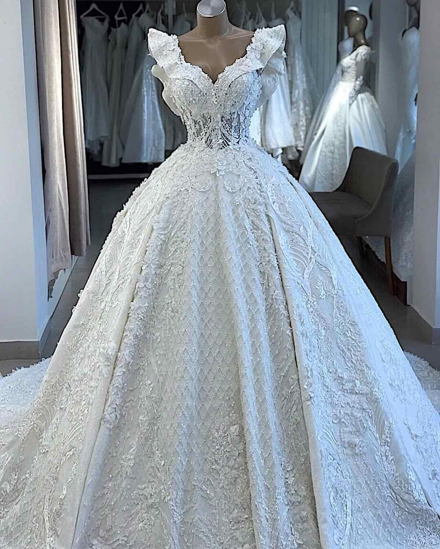 Super luksusowy zroszony suknia ślubna 2019 Lace up powrót 3D kwiaty suknie ślubne turcja Ruffles rękawy suknia ślubna Plus rozmiar
