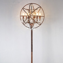 Vintage Loft Floor Lamp Retro Industrial Metal Crystal Sphere shape head Floor Lamp