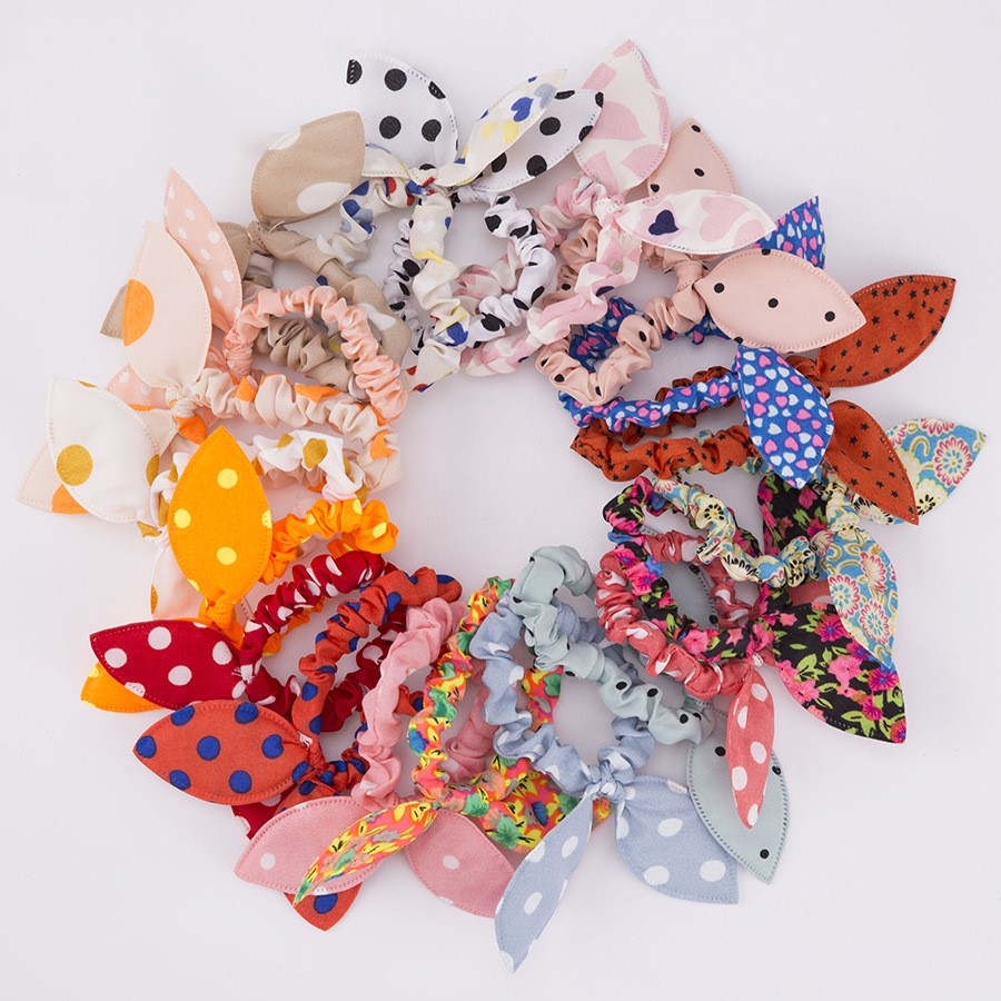 20Pcs/Lot Fashion Elastic Hair Bands Rabbit Ears Scrunchy Headband Girls Cute Bunny Hair Accessories Fabric Polka Dots Headwear