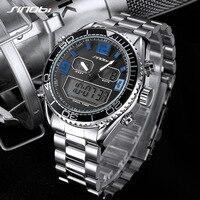 SINOBI S9731 ЖК Мужчины Спорт Мода часы 316 стали Группа Хронограф Кварцевые часы Военные водонепроницаемый Дата Relogio Masculino