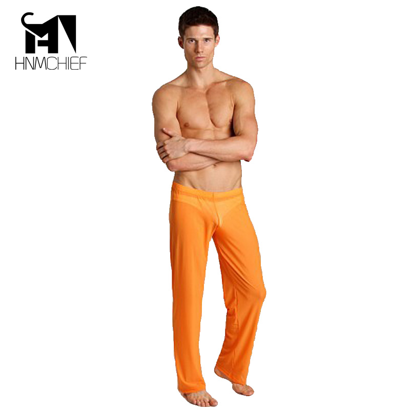 Mens See Through Pants Sexy Male Pajamas Sheer See Through Long Pants Home Casual Loose Trousers Home Casual Loose Ultra-thin