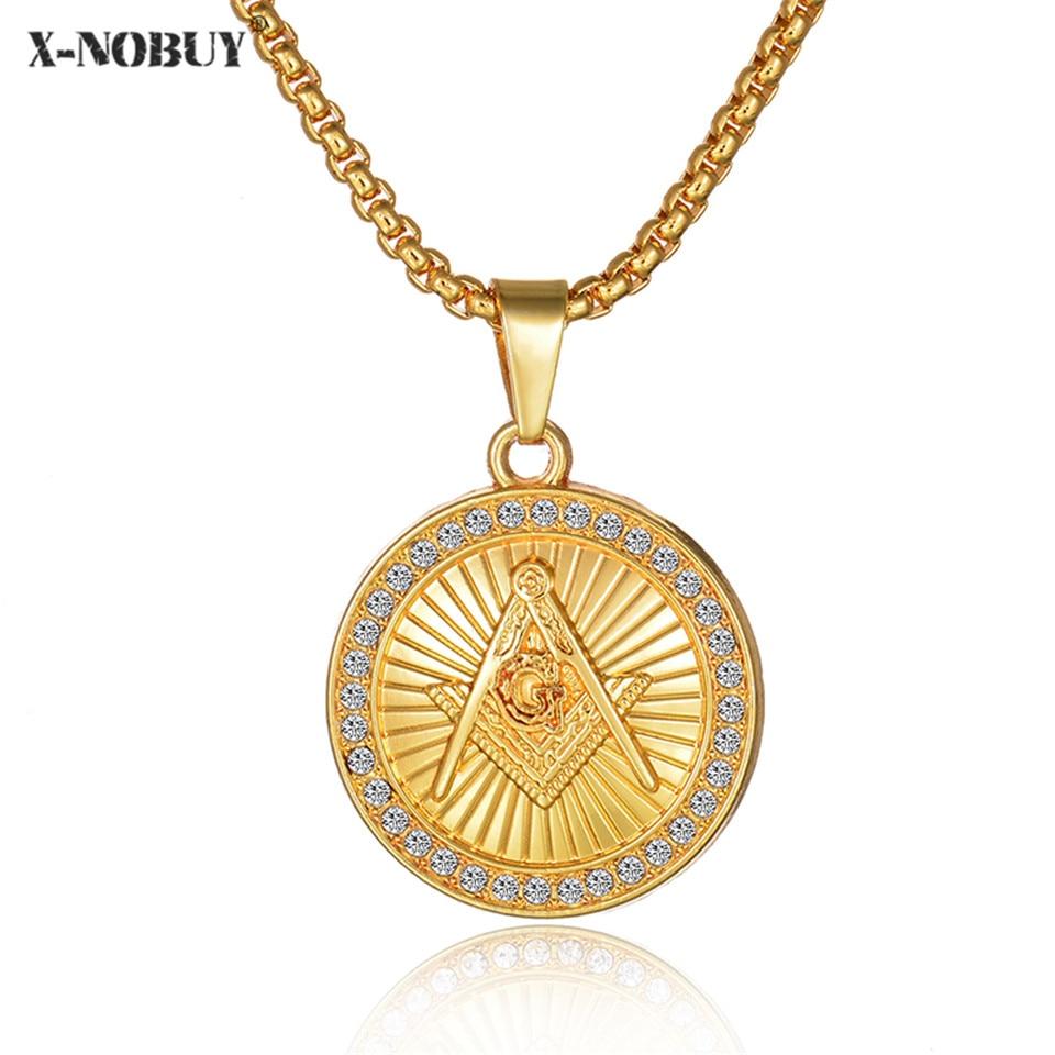 X-NO купить новый, со стразами с золотой Цвет масоном масонской круглый кулон масонство хип-хоп Компасы G Цепочки и ожерелья для Для мужчин