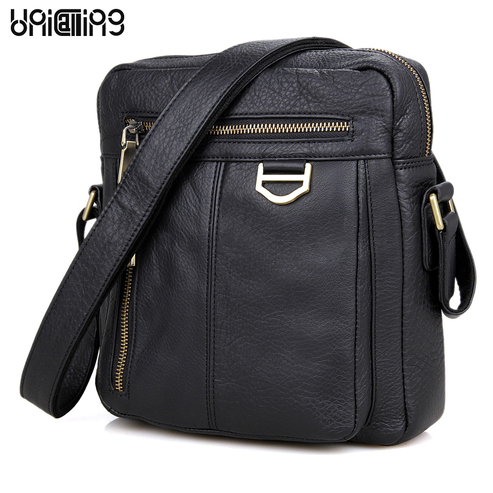 UniCalling brand fashion genuine leather men messenger bag leisure real cow leather men crossbody shoulder bag men small bag unicalling denim