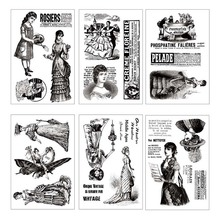Transparent Stamp Vintage Lady Retro Romantic Clear Stamps Silicone Seal for DIY Scrapbooking Card Making Album Decor Crafts