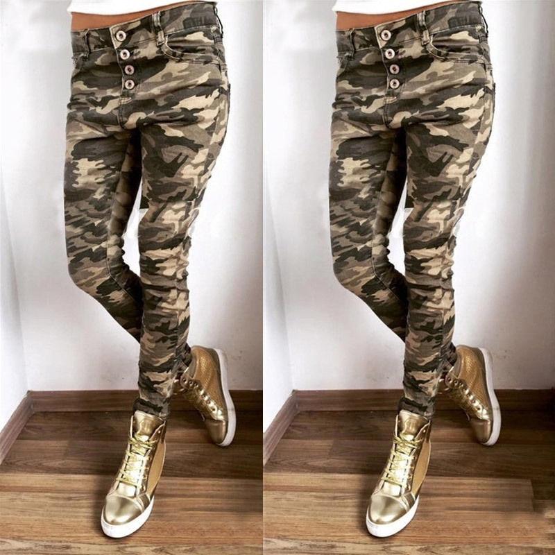 Women Camouflage Pants Casual Army Green Camo Sweatpant Fashion Camo Pants High Waist Loose Ladies Trousers