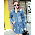 M-5XL Plus Size Women Ripped Denim Trench Coat Casual Turn-down Collar Hole Long Trench Blue Outerwear NZHY05