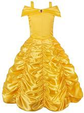 FEECOLOR 1PCS Princess Belle Off Shoulder Layered Costume Dress for Little Girl
