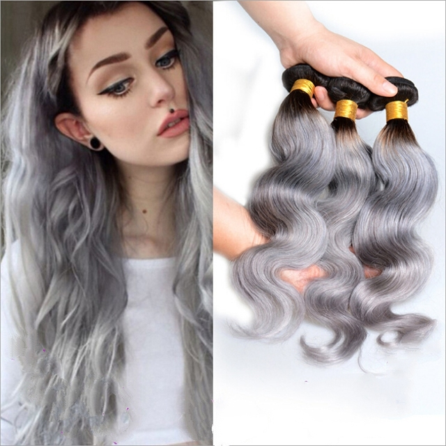1pcs gray hair extensions body wave synthetic hair weft weaving 1pcs gray hair extensions body wave synthetic hair weft weaving ombre grey hair weave synthetic for pmusecretfo Choice Image
