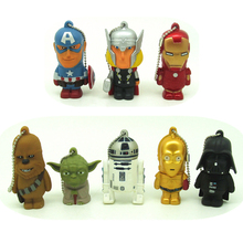 New design cartoon superhero Star wars pendrive USB 2.0 flash drive 8GB 16GB 32GB 4GB pen drive avenger Thor/iron Man memory