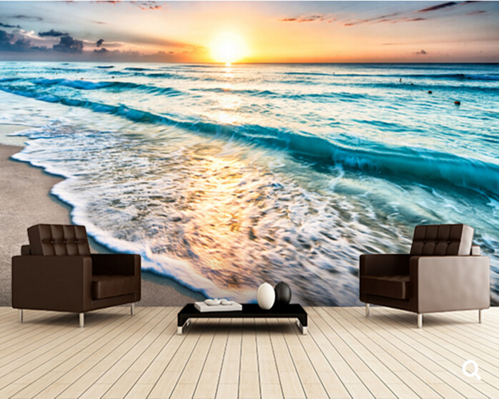 Custom Landscape Wallpaper Beautiful Sunrise Over Beach In Cancun 3d Wallpaper For Living Room Bedroom Tv Wall Papel De Parede Wallpapers For Wallpapers For Living Roomwallpaper 3d Aliexpress