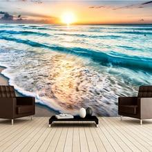 Custom landscape wallpaper, Beautiful sunrise over beach in Cancun 3D Wallpaper for living room bedroom TV wall papel de parede