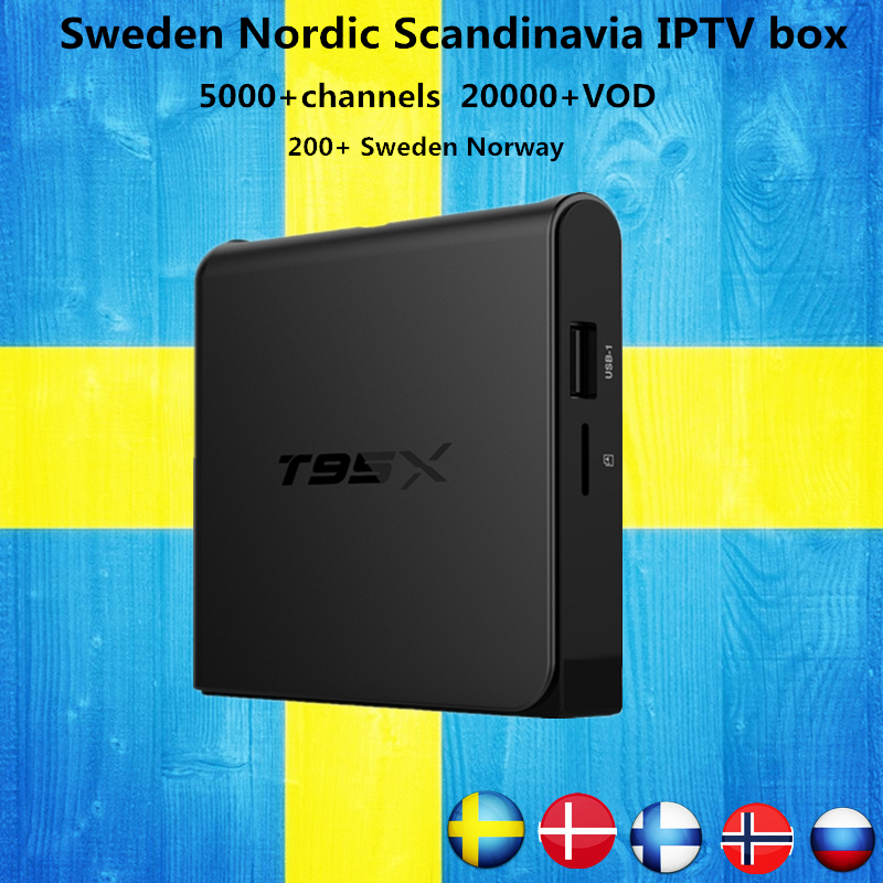 Sweden iptv Box T95X Amlogic S905X Android 6.0 TV Box HD 4K Smart tv box+1 Year 4700+Russian Nordic Arabic IPTV free shipping alcosafe kx 1300