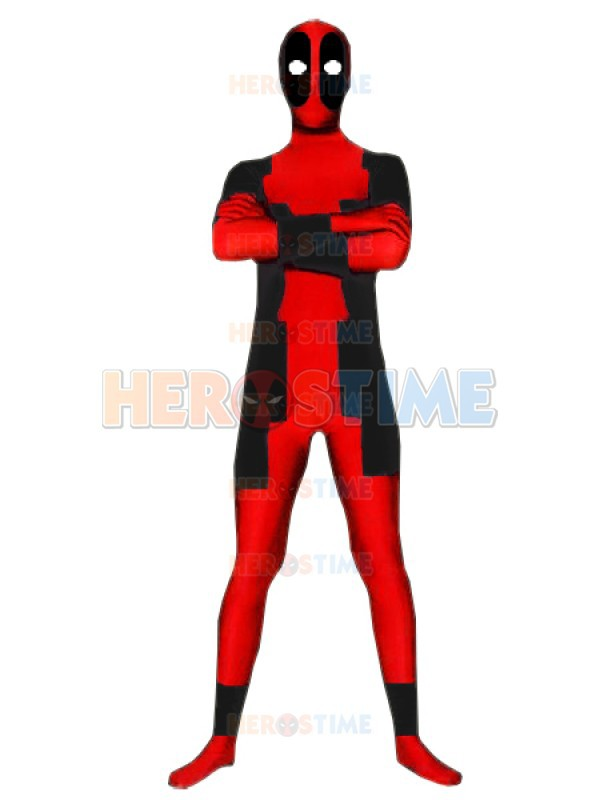 Red Deadpool Costume fullbody adult halloween cosplay Deadpool Superhero Costumes hot sale zentai suit free shipping