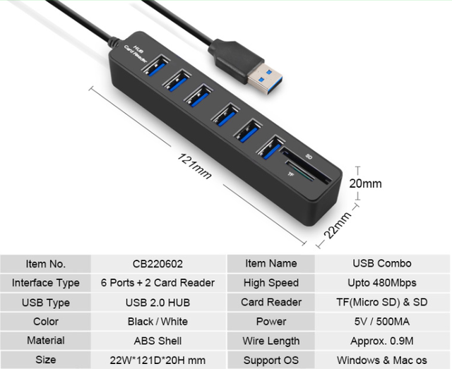 Multi USB 3.0 Hub Splitter High Speed TF SD Card Reader