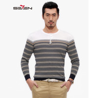 Seven7 Brand Knitted Sweater Men Casual Autumn Spring Male Wool Striped 3D Fashion Sweaters Pullover O
