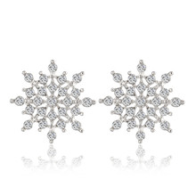2016 New Ladies Crystal Snow Flake Bijoux Statement Stud font b Earrings b font For Women