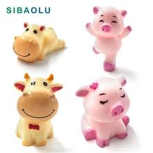 Cute Pig Cow Family Resin Craft Animal Model figurine home decor miniature fairy garden decoration accessories micro landscape