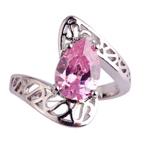 Pear Cut Pink Topaz & White Sapphire 925 Silver Ring Size 6 7 8 9 Wedding Jewelry Nice Rings Women Gift Wholesale Free Shipping
