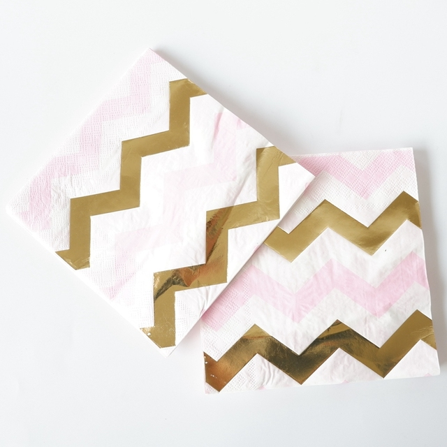 20pcs /lot Gold Pink Wave Paper Napkin For Boy Girl Gender Reveal Party Tissue Napkin Decoration Serviettes 33*33cm
