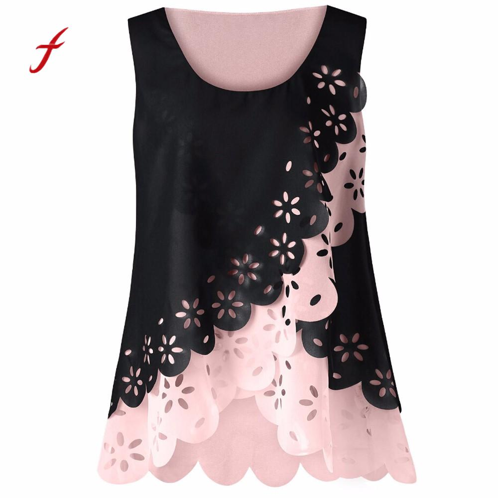 Women's Clothing Glorious Feitong 2018 Women Summer Tops Fashion Women Floral Hollow Out Tops Scalloped O-neck Chiffon Tank Tops Vest Camisa Feminina /py With Traditional Methods