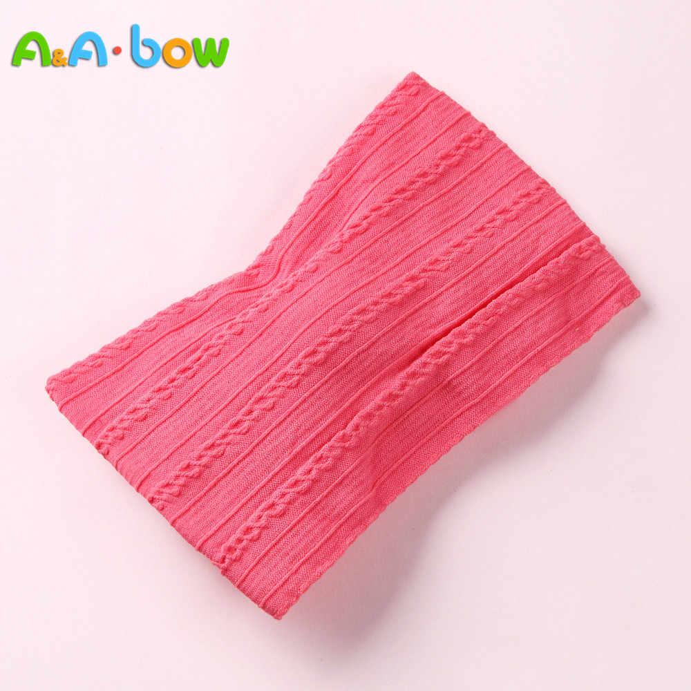 1 Pcs Nieuwe Braid Nylon Boog Hoofdbanden, Cable Knit Solid Wide Nylon Hoofdbanden Tulband, baby Meisjes Hoofd Wrap Haaraccessoires 27 Kleuren