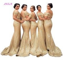 Sequins Long Bridesmaid Dresses Sequins Off Shoulder Formal Gowns Mermaid Floor Length Bridesmaid Dress Cheap Dress for Weddings new gold sequins flower girls dresses for weddings backless pageant dress floor length princess kids formal wear