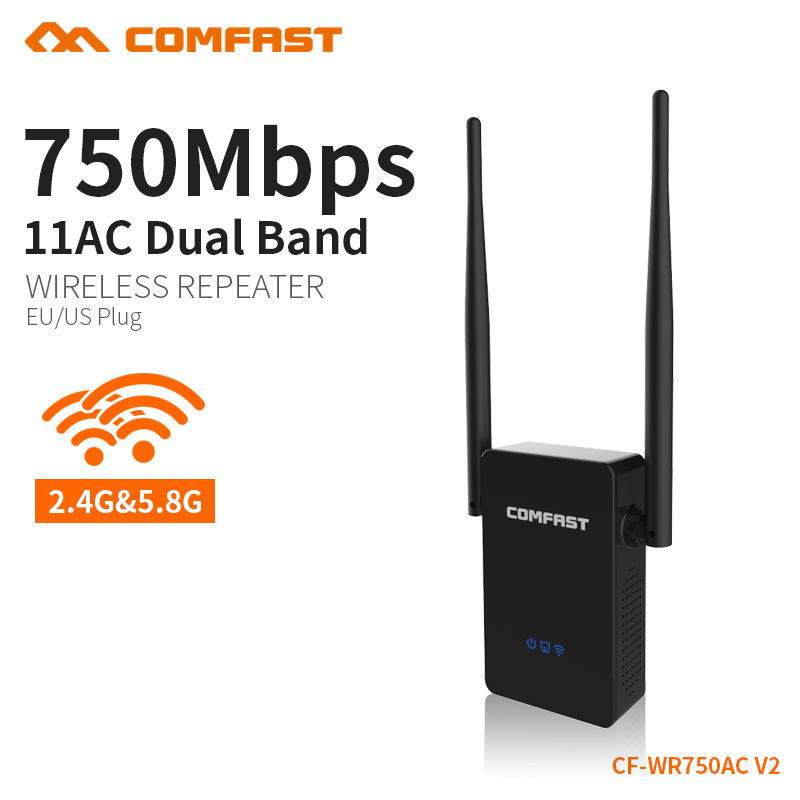 2PCS COMFAST 750Mbps WIFI Extender Repeater 2.4G/5.8G Wireless Wi fi WI-FI repeater signal amplifier Roteador Router CF-WR750AC