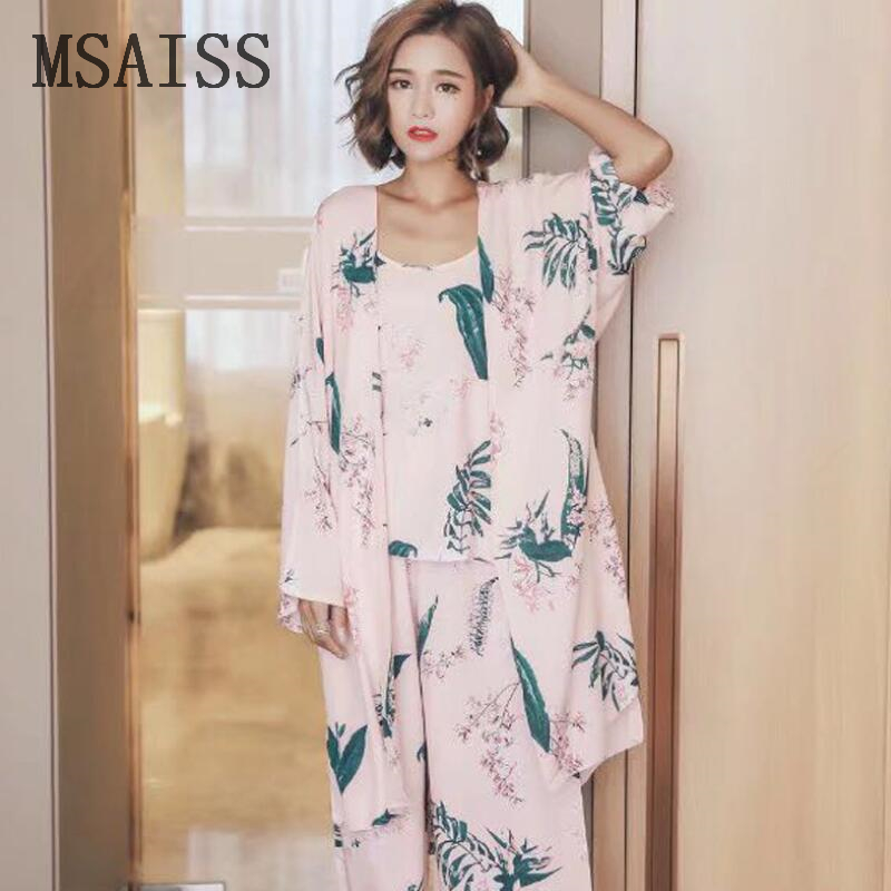 Sleepwear 3 Pieces Pyjama   Set   2019 Women Autumn Winter Sexy   Pajamas     Sets   Sleep Suits Soft Sweet Cute Nightwear Gift Home Clothes