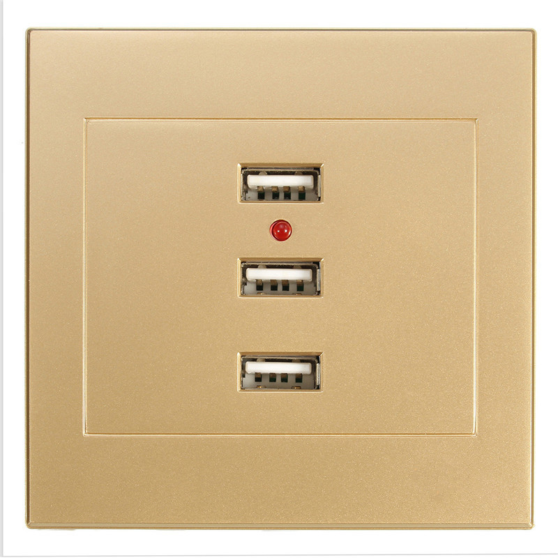 все цены на  Wholesale 3 Port USB Smart Power Charger Socket Gold Color Home Useful Alloy Shell Sockets 220V To 5V For Cell Phone PC