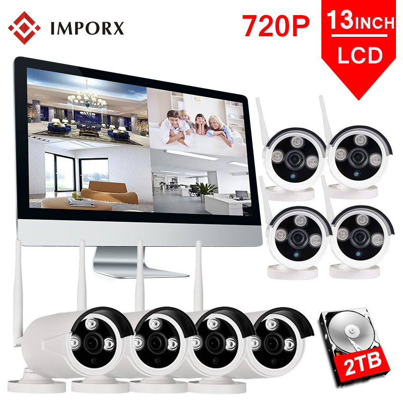 8CH 720P Wireless NVR Kits 13' LCD Display Outdoor Security 1MP 8PCS IP Camera Video Surveillance P2P Wifi CCTV Camera System|Surveillance System| |  - title=