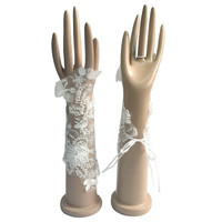 Gorgeous White Ivory Bridal Gloves For Wedding Bride Cheap Lace Applique Accessories Promotion