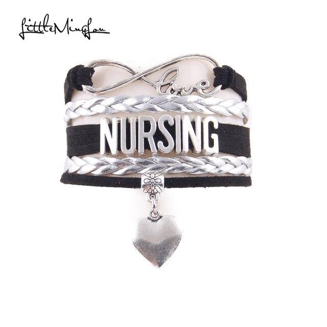 Little Minglou Infinity Love Nursing Bracelet Heart Charm Leather Wrap Men Bracelets Bangles For Women