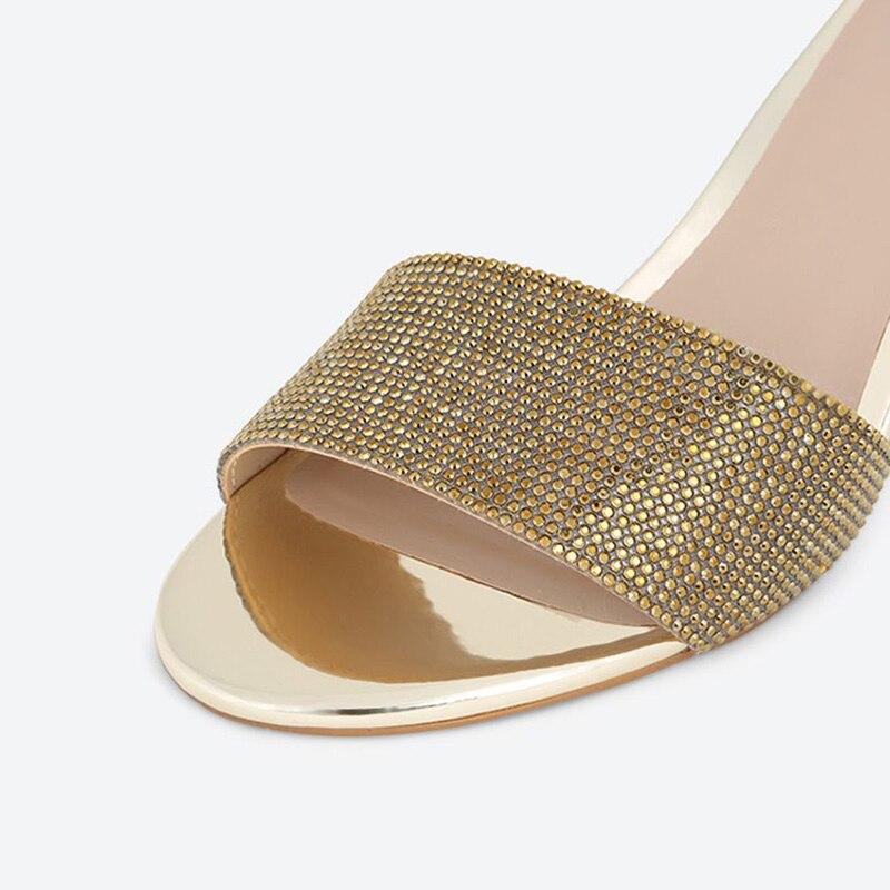 Cuadrados Cristal Abierta Señoras Punta Fsj De Mujer Sandalias Zapatos Casual Tacones Golden Zapatillas Más 4 Oro Tamaño 2018 Verano 16 74qwxnEFfX