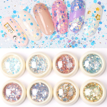 1Box Nail Art Glitter 3D Mixed Shaped Sequins UV Gel Polish Sparkling Powder Dust Manicure Decoration DIY Charm Flakes