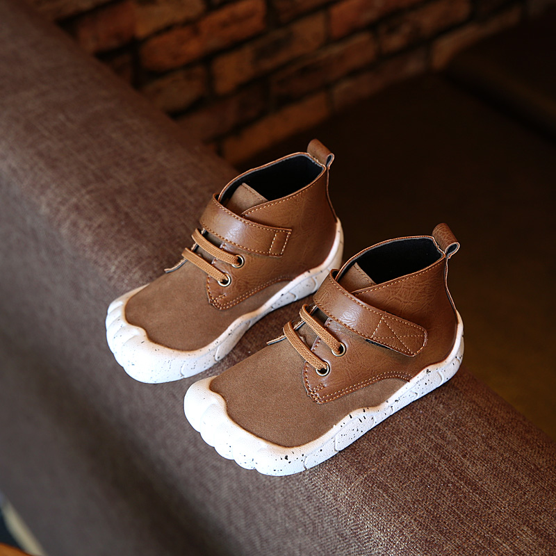2016 free shipping Korean children autumn England Martin boots Roman boots matte leather shoes 3 Color