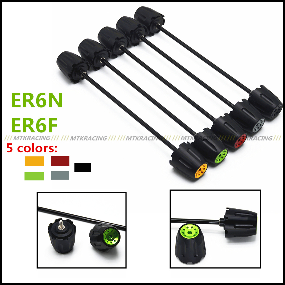 Free shipping For Kawasaki ER6N ER6F er6n er6f CNC Modified Motorcycle Front and rear wheels drop ball / shock absorber Green free shipping 6 pcs motorcycle front