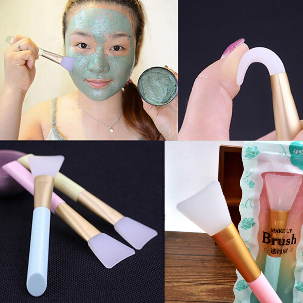 Brush-Mask Applicator Facial-Mask Silicone Cosmetic-Tool Plastic-Handle Hairless Random-Color title=