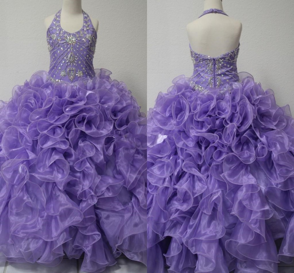 Real Picture Little Girl 39 s Pageant Dresses Glitz 2019 Toddler Halter Crystals Purple Long Baby Flower Dress For Girls Kids Party in Flower Girl Dresses from Weddings amp Events