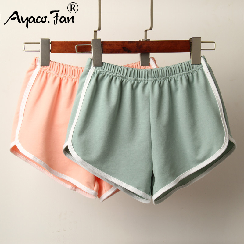 Sports Shorts Women Summer 2019 New Candy Color Anti Emptied Skinny Shorts Casual Lady Elastic Waist Beach Correndo Short Pants 1