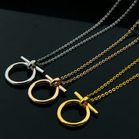 New 18K Gold Plated Personalized Fashion Small Pendant Necklace For Women Stainless Steel Vintage Lucky Horseshoe